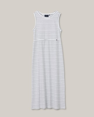 Nadia Jersey Long Dress, White/Blue Stripe