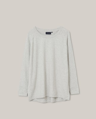 Lea Cotton/Cashmere Sweater, Gray Melange
