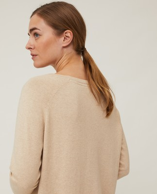 Lea Cotton/Cashmere Sweater, Light Beige Melange