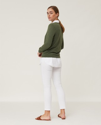 Marline Organic Cotton Sweater, Dark Green Melange