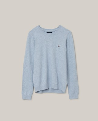 Marline Organic Cotton Sweater, Light Blue Melange