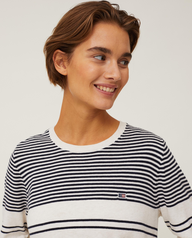 Marline Organic Cotton Sweater, White/Blue Stripe