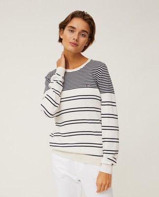 Marline Organic Cotton Sweater, White/Blue Stripe