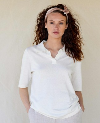 Amilia Cotton/Silk Blend Short Sleeve Knitted Polo, Offwhite