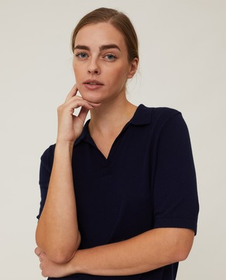 Amilia Cotton/Silk Blend Short Sleeve Knitted Polo, Dark Blue