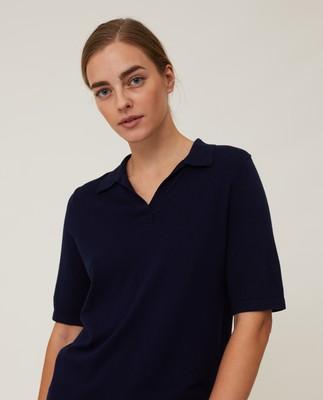 Amilia Cotton/Silk Blend Short Sleeve Knitted Polo, Dark Blue