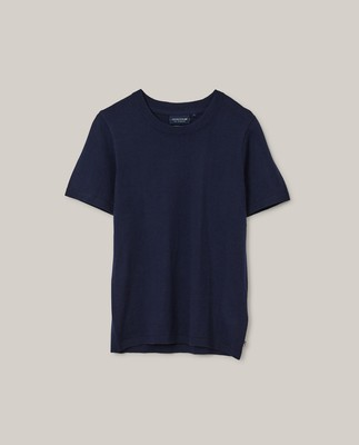 Amber Organic Cotton/Lyocell Knitted Tee, Dark Blue