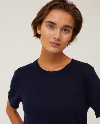 Amber Organic Cotton/Tencel Knitted Tee, Dark Blue