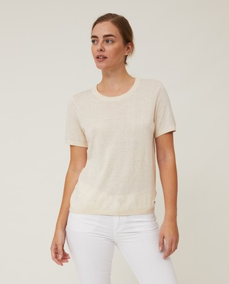 Amber Organic Cotton/Lyocell Knitted Tee, Light Beige Melange