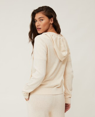 June Organic Cotton/Lyocell Knitted Zip Hoodie, Light Beige Melange