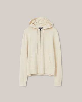 June Organic Cotton/Tencel Knitted Zip Hoodie, Light Beige Melange