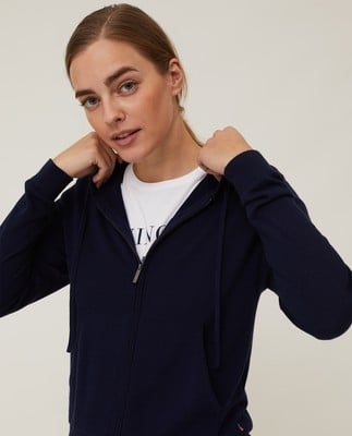 June Organic Cotton/Lyocell Knitted Zip Hoodie, Dark Blue