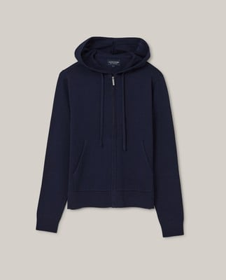 June Organic Cotton/Tencel Knitted Zip Hoodie, Dark Blue