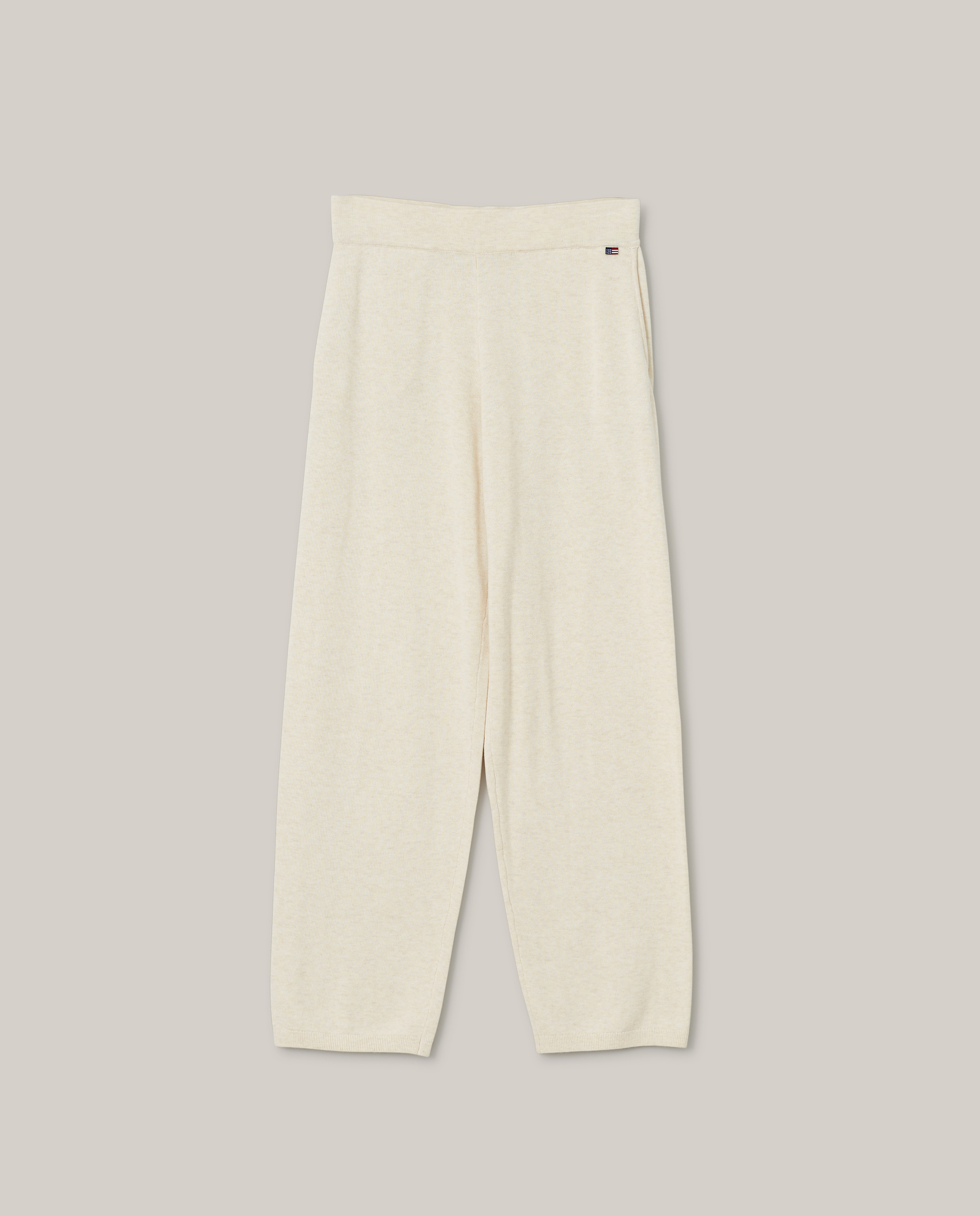 Des Organic Cotton/Lyocell Knitted Pants, Light Beige Melange