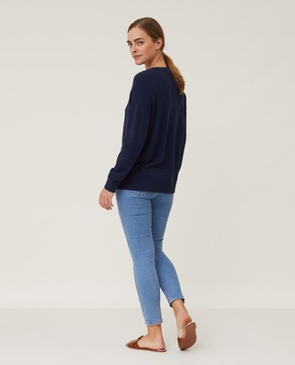 Lizzie Cotton/Cashmere Sweater, Dark Blue Melange