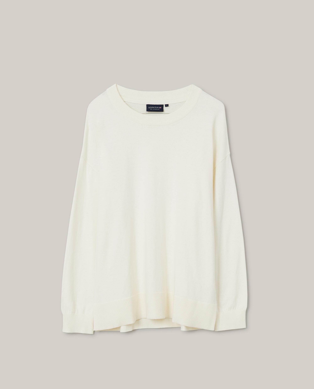 Lizzie Cotton/Cashmere Sweater, Offwhite Melange