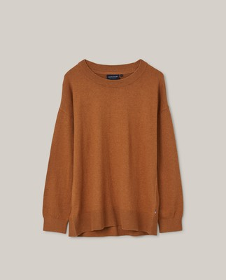 Lizzie Cotton/Cashmere Sweater, Light Brown Melange