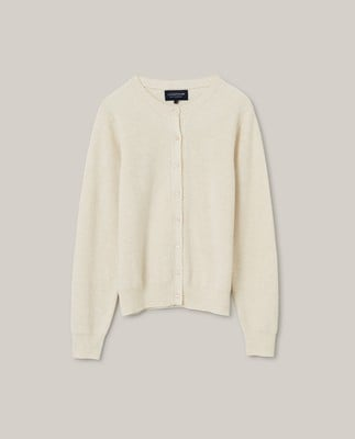 Alina Cashmere Blend Knitted Cardigan, Light Beige Melange