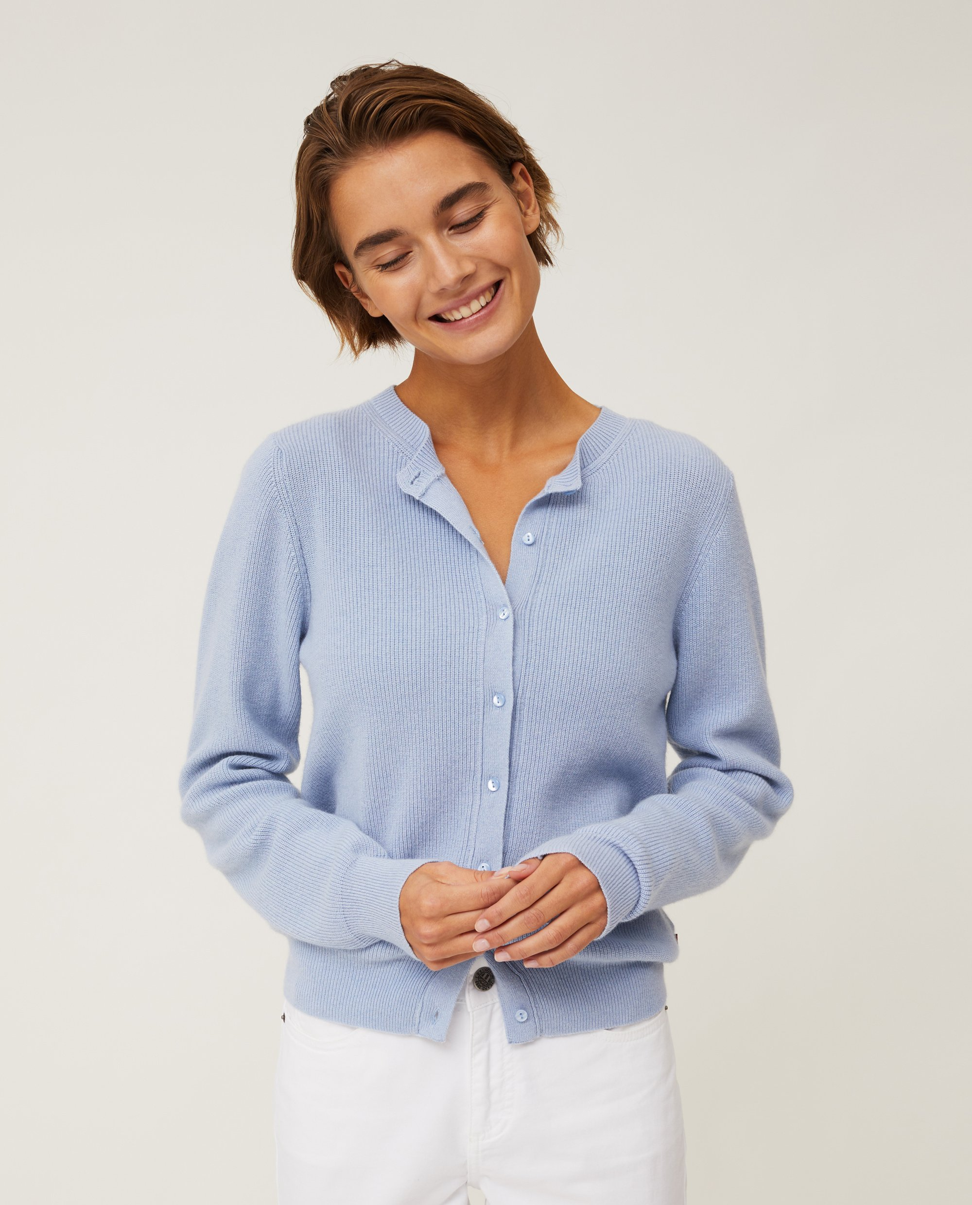 Alina Cashmere Blend Knitted Cardigan, Light Blue Melange