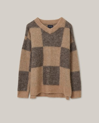 Claire Alpaca Blend Sweater, Brown Check