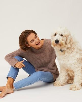 Claire Alpaca Blend Sweater, Light Brown Melange