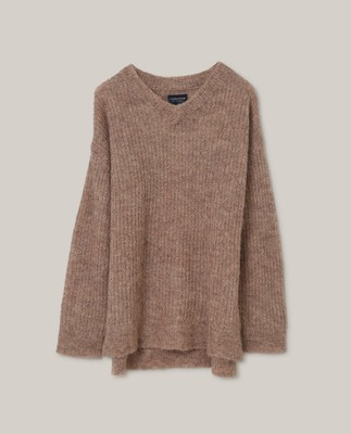 Claire Alpaca Blend Sweater, Light Brown Melange