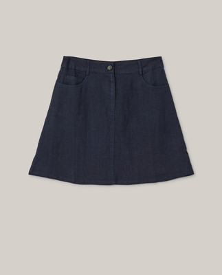 Stella Linen Skirt, Dark Blue