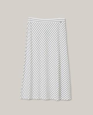 Brielle Skirt, White/Blue Stripe