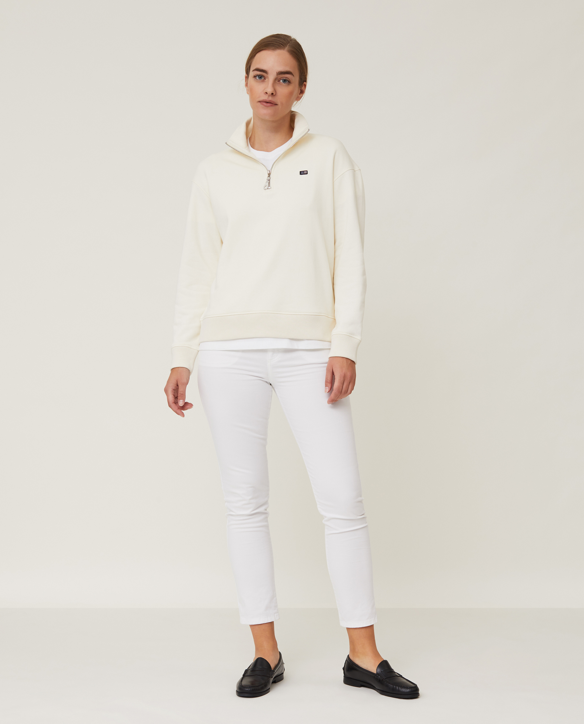 Kelly Organic Cotton Half Zip Sweatshirt, Offwhite