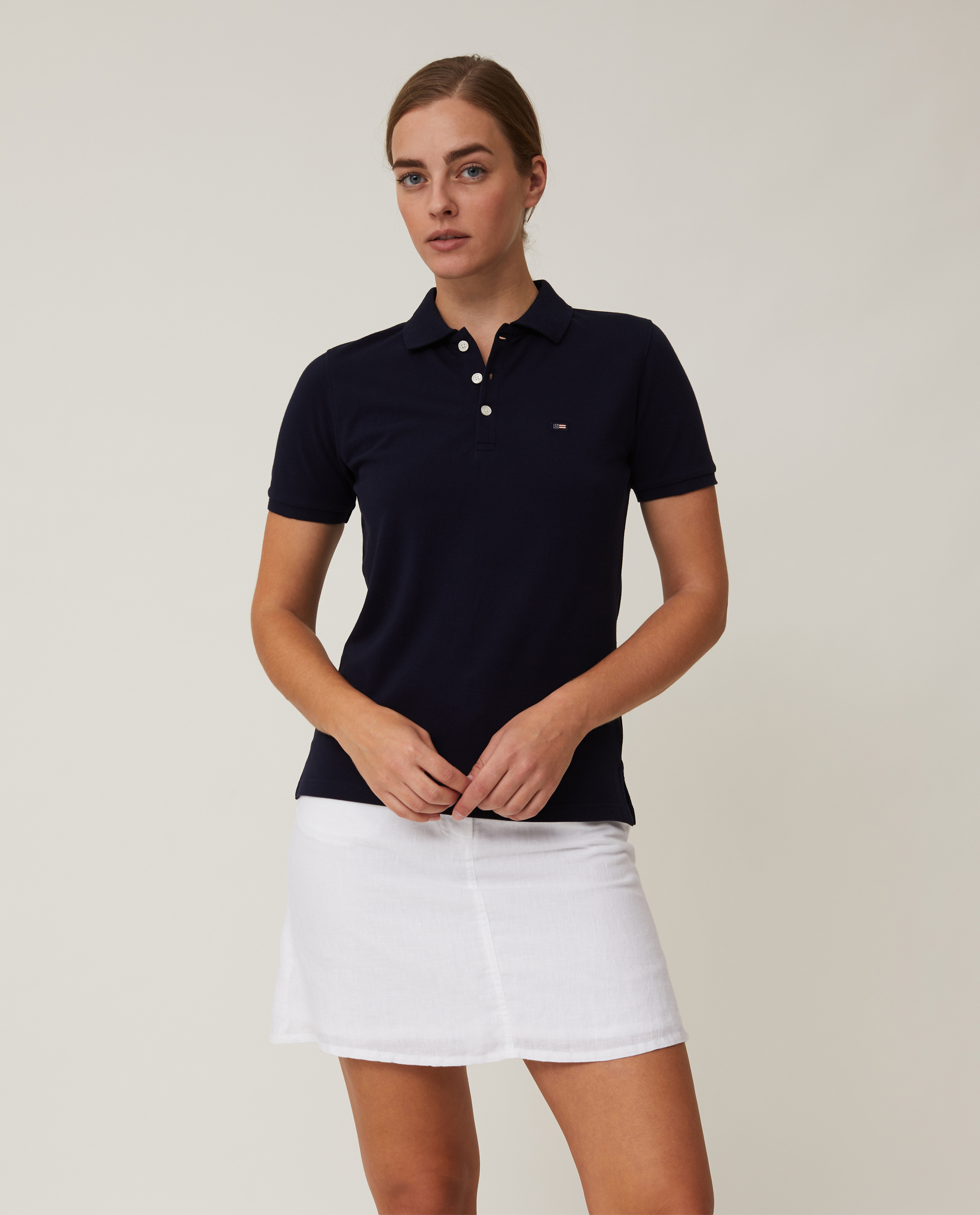 Jess Pique Polo Shirt, Dark Blue