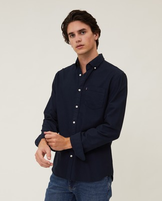 Kyle Organic Cotton Oxford Shirt, Dark Blue