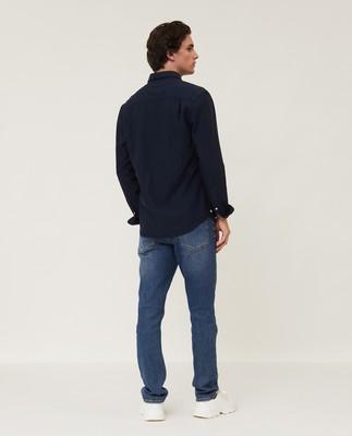 Kyle Organic Cotton Oxford Shirt, Dark Blue