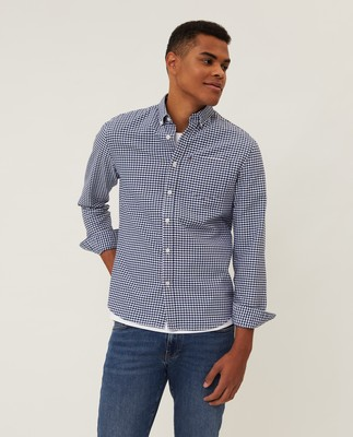 Kyle Organic Cotton Oxford Shirt, Blue/White Check
