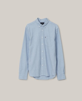 Peter Light Flannel Shirt, Light Blue Melange