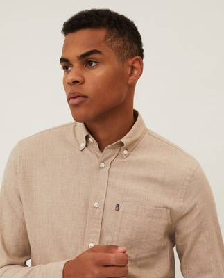 Peter Light Flannel Shirt, Beige Melange