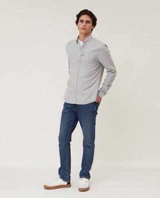 Peter Light Flannel Shirt, Gray/White Check