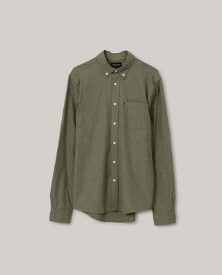 Peter Light Flannel Shirt, Green Melange