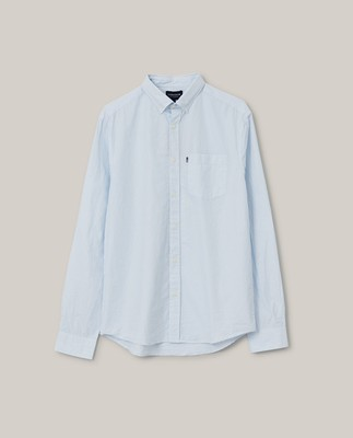Manuel Organic Cotton Poplin Shirt, Light Blue/White Stripe