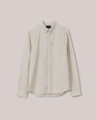 Manuel Organic Cotton Poplin Shirt, Beige/White Check