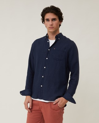 Ryan Linen Shirt, Dark Blue
