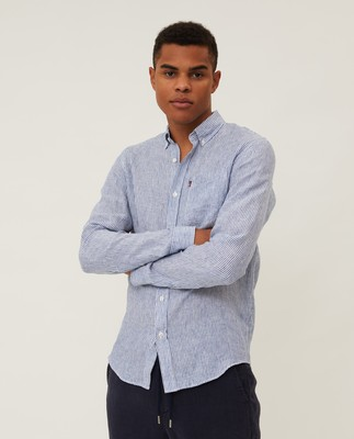 Ryan Linen Shirt, Blue/White Stripe