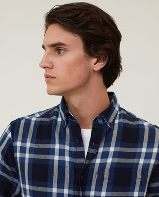 Clive Yarn Dyed Checked Shirt, Blue Multi Check