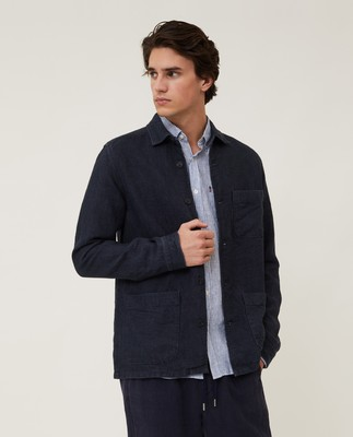 Robert Linen Overshirt, Dark Blue