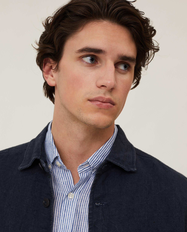 Robert Linen Overshirt, Dark Blue