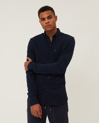 Brett Organic Cotton Pique Shirt, Dark Blue