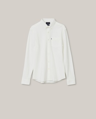 Brett Organic Cotton Pique Shirt, White