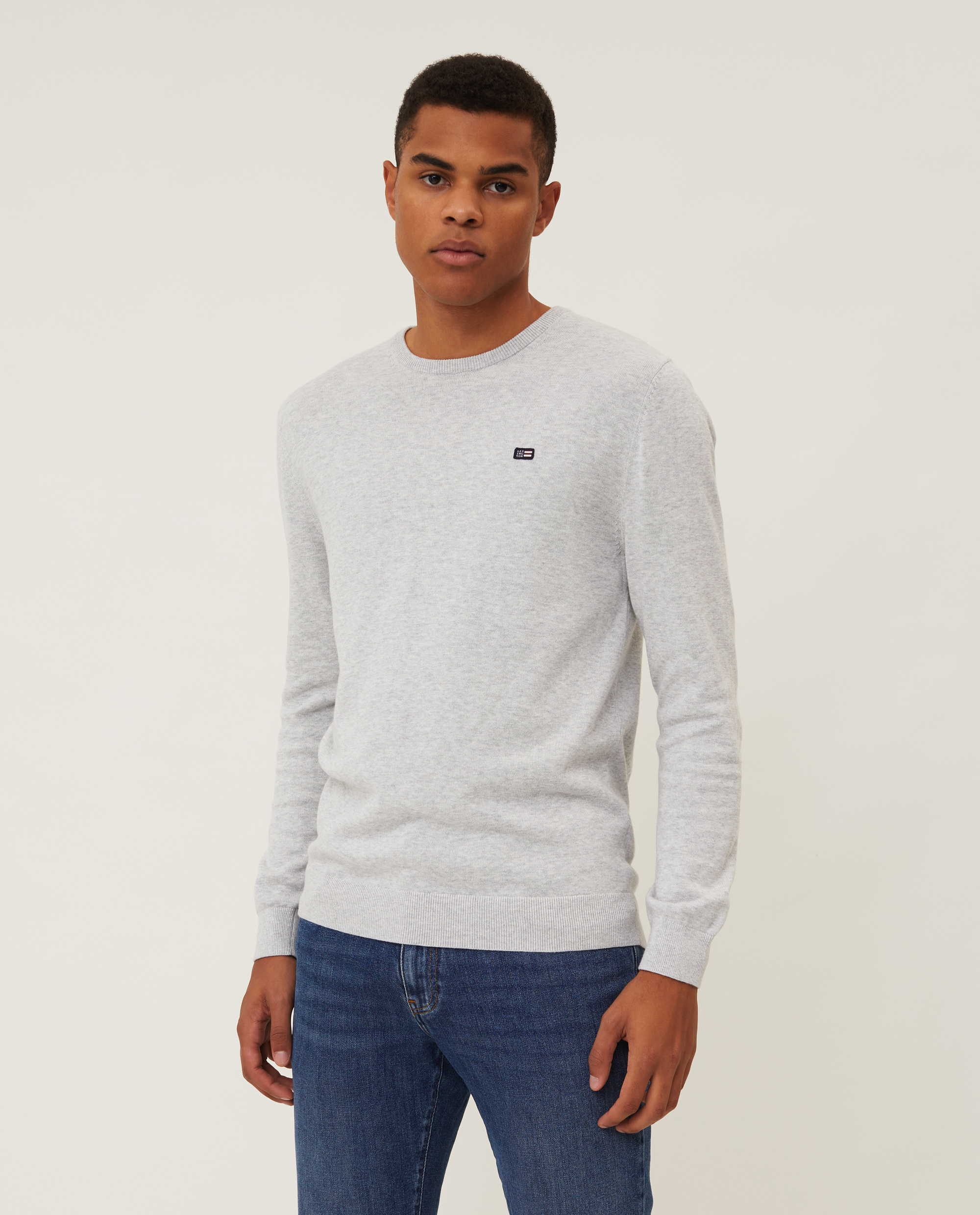 Bradley Organic Cotton Crew Neck Sweater, Light Gray Melange