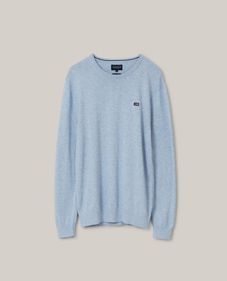 Bradley Organic Cotton Crew Neck Sweater, Light Blue Melange