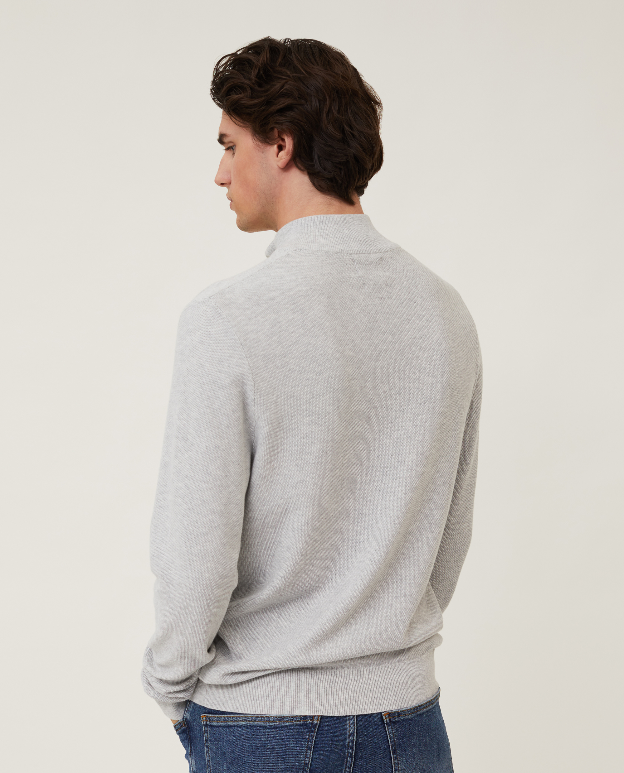 Clay Organic Cotton Half Zip Sweater, Light Gray Melange