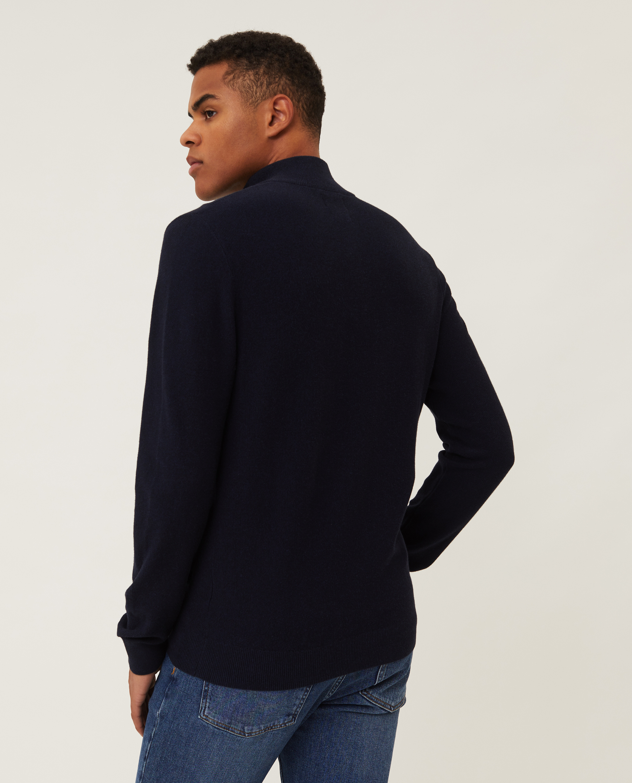 Clay Organic Cotton Half Zip Sweater, Dark Blue